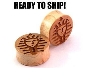 "READY TO SHIP 1 1/8"" (28mm) Maple King Tut Wooden Plugs - Premade Gauges Ship Within 1 Business Day!"