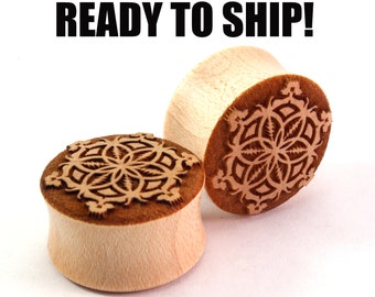 "READY TO SHIP 13/16"" (20.5mm) Maple Grateful Flower of Life Wooden Plugs - Premade Gauges Ship Within 1 Business Day!"