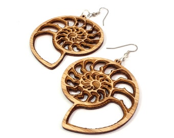 Ammonite Natural Wood Hook Earrings - Sustainable Oak, Walnut, Red or Black-Stained Maple - BeardArt (Matt Beard) Nautilus Design - 3 Sizes