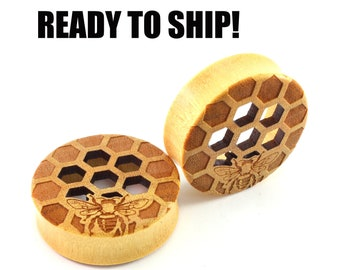 "READY TO SHIP - 1 1/2"" (38mm) Yellowheart Honeycomb Cutout Bee on Both Wooden Plugs - Pair - Premade Gauges Ship Within 1 Business Day!"