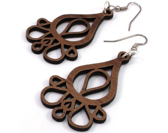 Sustainable Wooden Earrings - Dripping Tears - in Walnut
