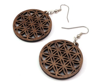 "Flower of Life Sustainable Wooden Hook Earrings - Small (1.3"") - Walnut - Sacred Geometry Wood Dangle Earrings"