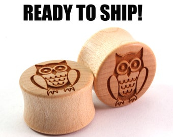 "READY TO SHIP - 3/4"" (19mm) Maple Owl Wooden Plugs - Nature Lover - Premade Gauges Ship Within 1 Business Day!"