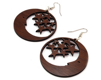 "Moon and Stars Sustainable Wooden Hook Earrings - Sustainably Harvested Walnut, Oak, Red or Black Stained Maple - Dangle Drop - large (2"")"