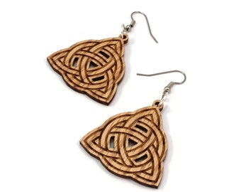 Celtic Trinity Knot Earrings made of Sustainable Oak, Walnut, Red-Stained Maple, Black-Stained Maple Wood - Hook Dangle Earrings - 3 Sizes