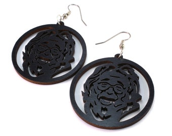 Jerry Garcia Sustainable Wooden Hook Earrings - Black Stained Maple - Grateful Dead Inspired