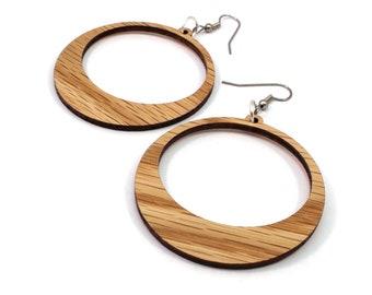Simple Hoop Hook Earrings Large --Oak, Walnut, Red Stained Maple or Black Stained Maple