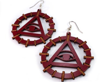 Sustainable Wooden Hook Earrings - Eye of Providence - in Red or Black Stained Maple, Walnut, or Oak Wood - Dangle Drop