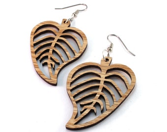 Sustainable Wooden Hook Earrings - Leaves - in Oak, Red or Black Stained Maple, or Walnut - 3 Sizes - Wood Dangle Drop Earrings