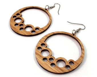 Bubble Hoops Sustainable Wooden Hook Earrings - in Oak - Sustainably Harvested Wood Dangle Earrings