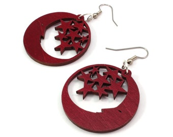Sustainable Wooden Hook Earrings - Moon and Stars - in Red Stained Maple, Black Stained Maple, Oak, and Walnut Wood