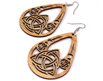 Celtic Teardrop Hook Earrings made of Sustainable Oak, Walnut, Red-Stained Maple, Black-Stained Maple - Wood Tear Drop Dangle Drop - 2 Sizes