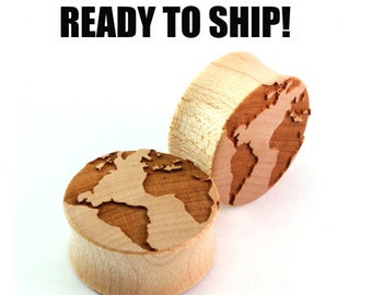 "READY TO SHIP - 1"" (25.5mm) Maple Globe Wooden Plugs - Pair - Hand Turned - Travels / Earth Day - Premade Gauges Ship Within 1 Business Day!"