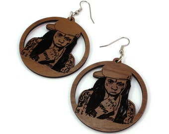 Lil Wayne Sustainable Wooden Hook Earrings - Sustainably Harvested Walnut Wood Dangle Earrings - 2""