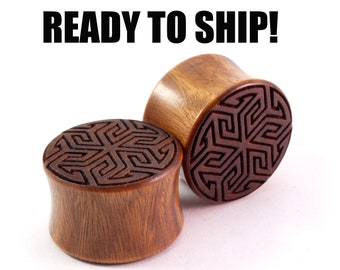 "READY TO SHIP -  3/4"" (19mm) Lignum Vitae Maze of Life Wooden Plugs - Premade Gauges Ship Within 1 Business Day!"