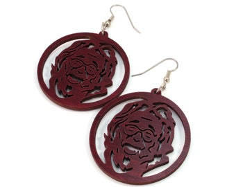 """Jerry Garcia Sustainable Wooden Hook Earrings - Red-Stained Maple - 1.75"""" - Dead Head Inspired"""