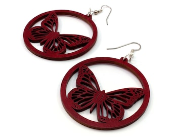 Monarch Butterfly Sustainable Wooden Hook Earrings - Butterflies in Red Stained Maple Wood Dangle Earrings - 2 Sizes