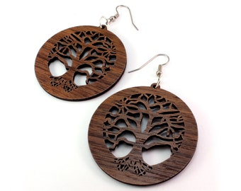 "Tree of Life Sustainable Wooden Earrings - Walnut - 2"" - Wood Dangle Hook Earrings"