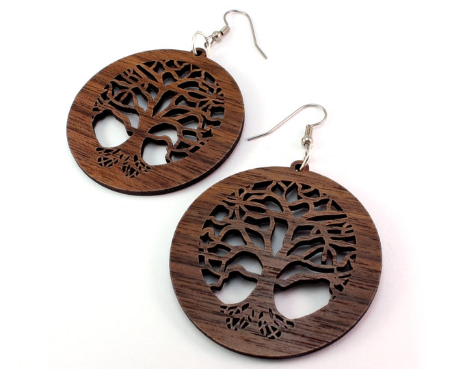 "Featured listing image: Tree of Life Sustainable Wooden Earrings - Walnut - 2"" - Wood Dangle Hook Earrings"