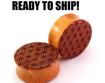 """READY TO SHIP 1 1/8"""" (28mm) Osage Orange Flower of Life Wood Plugs - Sacred Geometry - Premade Gauges Ship Within 1 Business Day!"""