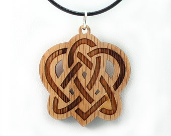 Celtic Heart Wooden Pendant - Oak - Sustainable Wood Jewelry - SHIPS FREE