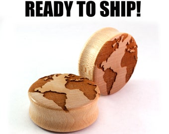 "READY TO SHIP - 1 3/16"" (30mm) Maple Globe Wooden Plugs - Pair - Jetsetter - Travels - Premade Gauges Ship Within 1 Business Day!"