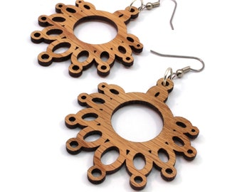 Dripping Loop Sustainable Wooden Hook Earrings - Geometric Dangle Earrings made of Sustainably Harvested Oak Wood