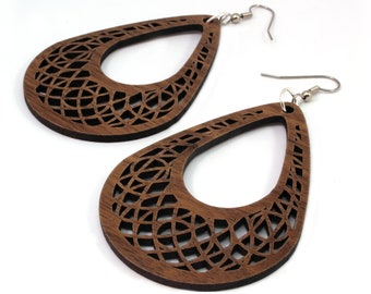 "Teardrop Dreamcatcher Wooden Hook Earrings in Walnut - Large (2.75"") - Sustainable Wood Tear Drop Dangle Earring Sacred Geometry"