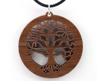 Tree of Life Wooden Pendant - Walnut - Sustainable Wood Jewelry - 2 Sizes - SHIPS FREE