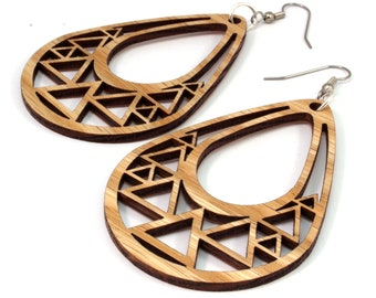 Triangle Teardrop Hook Earrings in Oak - 2 Sizes Available - Sustainably Harvested Wooden Tear Drop Dangle Earrings