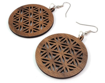 "Flower of Life Sustainable Wooden Hook Earrings - Sacred Geometry Dangle Earrings made of Sustainably Harvested Walnut - Large (1.75"")"