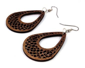 """Teardrop Dreamcatcher Hook Earrings in Walnut - Small (2"""") - Boho - Gift for Her - Sustainably Harvested Dangle Earrings"""