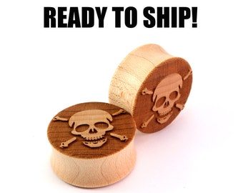 "READY TO SHIP - 1"" (25.5mm) Maple Skull and Crossbones Wooden Plugs - Pair - Premade Gauges Ship Within 1 Business Day!"