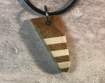 Day 16 - Social Distancing Wooden Pendant - Necklace made of reclaimed American Holly Wood & Yellowheart scraps, while at home in March 2020