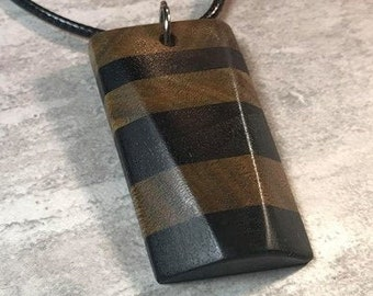 Day 15 - Social Distancing Wooden Pendant - Necklace made of reclaimed Ebony and Lignum Vitae scraps, while at home in March 2020
