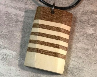 Day 17 - Social Distancing Wooden Pendant - Necklace made of reclaimed American Holly Wood & Yellowheart scraps, while at home in March 2020