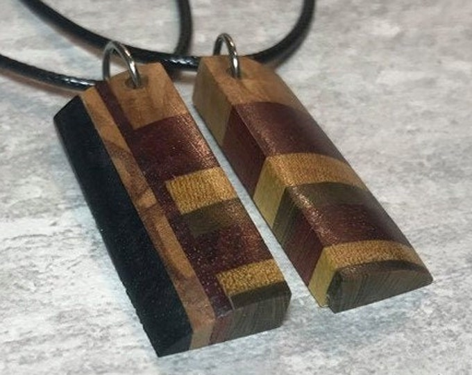 Featured listing image: Day 17 - Social Distancing Friendship Pendants - 2 Necklaces made of reclaimed Olivewood, Bloodwood, and Ebony + while at home in March 2020