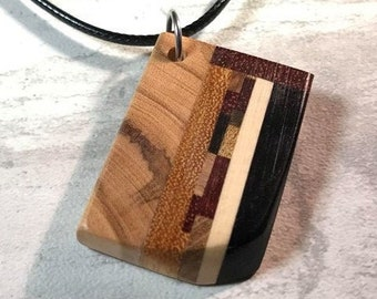 Day 20 - Social Distancing Wooden Pendant - Necklace made of reclaimed Exotic Hardwood scraps, inlcuding Ebony, while at home in March 2020