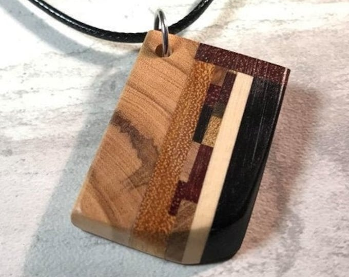 Featured listing image: Day 20 - Social Distancing Wooden Pendant - Necklace made of reclaimed Exotic Hardwood scraps, inlcuding Ebony, while at home in March 2020