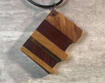 Day 18 - Social Distancing Wooden Pendant - Necklace made of reclaimed Olivewood Bloodwood, Yellowheart + scraps while at home in March 2020