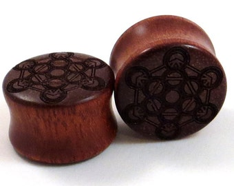 "Metatron Cube Bloodwood Wooden Plugs - PAIR - 9/16"" (14mm) 5/8"" (16mm) 11/16"" (17.5mm) 3/4"" (19mm) 13/16"" (20.5mm) 7/8"" 1"" + Wood Ear Gauges"