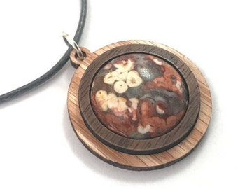Leopardskin Jasper and Wood Simple Circle Pendant - Natural Sustainable Wooden Necklace with 20mm Genuine Gemstone - Walnut on Oak