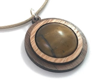Tigers Eye and Wood Simple Circle Pendant - Natural Sustainable Wooden Necklace with 20mm Genuine Gemstone - Oak on Walnut