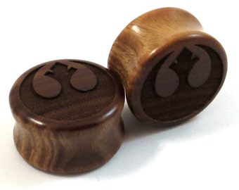 """Rebellious Lignum Vitae Wooden Plugs - PAIR - 2g 6.5mm 0g 8mm 00g 9mm 10mm 7/16"""" 11mm 1/2"""" 13mm 9/16"""" 14mm 5/8"""" 16mm and up Wood Ear Gauges"""