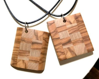 Social Distancing Friendship Pendants - 2 Necklaces made of reclaimed Olivewood and Maple scraps while at home in March 2020
