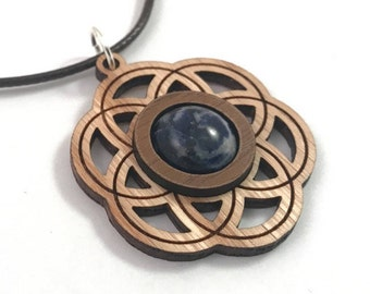 Sodalite and Wood Seed of Life Pendant - Natural Sustainable Wooden Necklace with 12mm Genuine Gemstone - Walnut on Oak