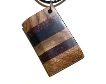 Social Distancing Wooden Pendant - Necklace made of reclaimed Olivewood, Bloodwood, Ebony and Osage scraps while at home in March 2020