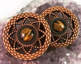 "Tigers Eye and Maple Cutout Plugs - PAIR- available in  1"" (25.5mm) 1 1/8"" (28mm) 1 1/4"" (32mm) 1 1/2"" (38mm) 1 3/4"" (44mm) Wooden Ear Plugs"