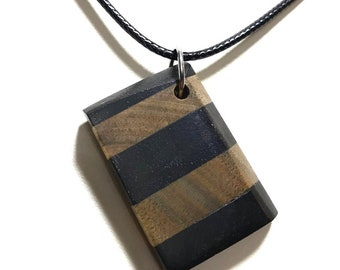 Social Distancing Wooden Pendant - Necklace made of reclaimed Ebony and Lignum Vitae scraps while at home in March 2020