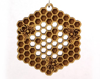 Honeycomb Yellowheart Necklace - Wooden Bee Pendant on cord - Honeybee Lover Gift